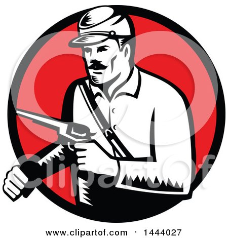 Clipart of a Retro Woodcut Black and White Union Soldier Holding Pistol Set in a Red Circle - Royalty Free Vector Illustration by patrimonio