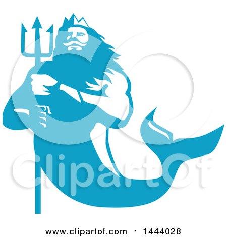 Retro Blue and White Merman, Triton Mythological God, Holding a Trident Posters, Art Prints