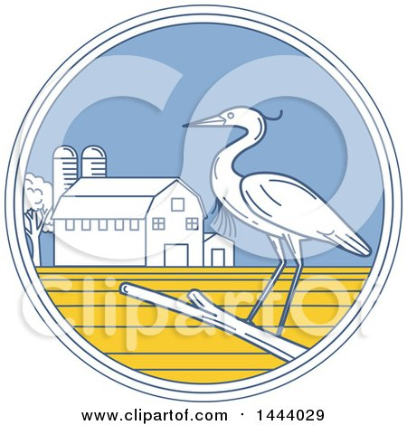 Clipart of a Great Blue Heron Bird on a Branch in a Circle with a Barn and Silo - Royalty Free Vector Illustration by patrimonio