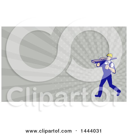 Retro Walking Carpenter Worker Holding a Thumb up and Carrying Lumber on His Shoulder and Rays Background or Business Card Design Posters, Art Prints