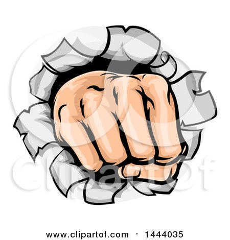 Clipart of a Cartoon Fisted Hand Punching a Hole Through a Wall - Royalty Free Vector Illustration by AtStockIllustration