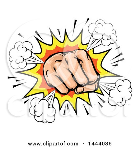 Clipart of a Comic Explosion and Fisted Hand - Royalty Free Vector Illustration by AtStockIllustration