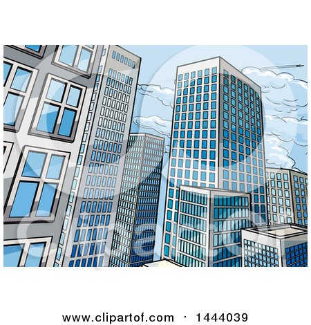 Clipart of a Pop Art Comic Book Styled Scene of City Skyscraper Buildings - Royalty Free Vector Illustration by AtStockIllustration