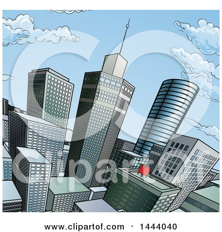 Clipart of a Pop Art Comic Book Styled Scene of City Skyscrapers - Royalty Free Vector Illustration by AtStockIllustration