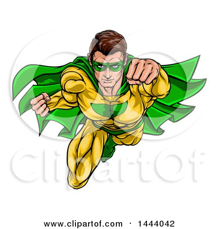 Clipart of a Pop Art Comic Caucaslan Male Super Hero Flying Forward - Royalty Free Vector Illustration by AtStockIllustration