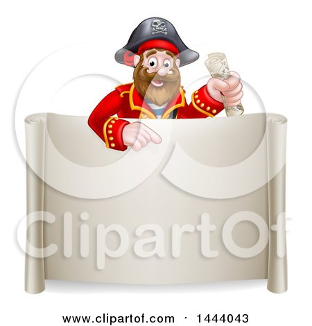 Clipart of a Cartoon Happy Male Pirate Captain Holding a Treasure Map and Pointing over a Scroll Sign - Royalty Free Vector Illustration by AtStockIllustration