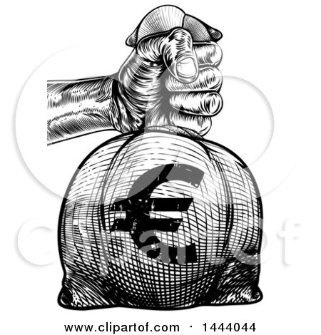 Clipart of a Black and White Engraved or Woodcut Styled Hand Holding out a Burlap Euro Money Bag Sack to Pay Taxes - Royalty Free Vector Illustration by AtStockIllustration