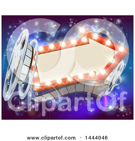 Clipart of a Retro Arrow Marquee Theater Sign with Light Bulbs, Film Reels and Clapper Board over Magical Lights - Royalty Free Vector Illustration by AtStockIllustration