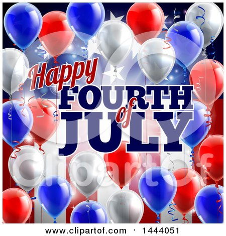 Clipart of a 3d Border of Red White and Blue Party Balloons and Streamers over a Patriotic American Themed Flag and Happy Fourth of July Text - Royalty Free Vector Illustration by AtStockIllustration