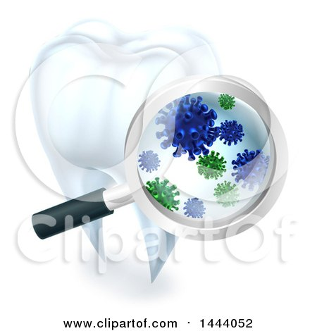 Clipart of a 3d Magnifying Glass Discovering Germs or Bacteria on a Tooth - Royalty Free Vector Illustration by AtStockIllustration