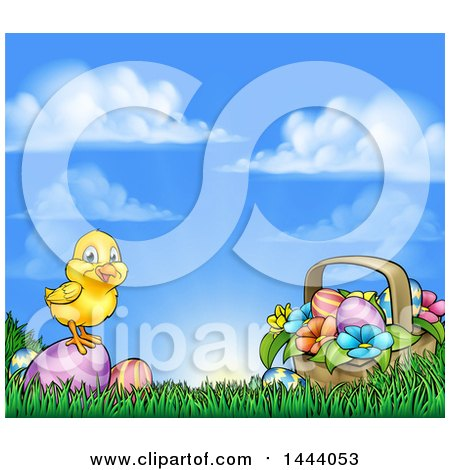 Clipart of a Cute Yellow Chick on Easter Eggs and a Basket in the Grass, over a Sunny Sky - Royalty Free Vector Illustration by AtStockIllustration