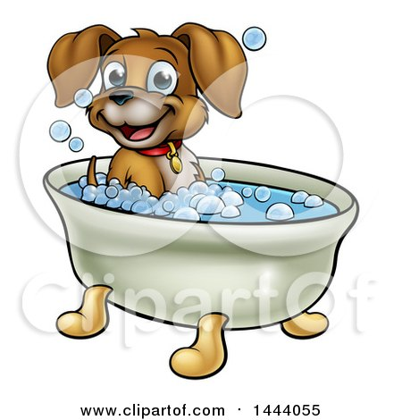 Clipart of a Cartoon Happy Puppy Dog Soaking in a Bubble Bath - Royalty Free Vector Illustration by AtStockIllustration