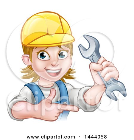 Cartoon Happy White Female Mechanic Wearing a Hard Hat, Holding up a Wrench and Pointing Posters, Art Prints