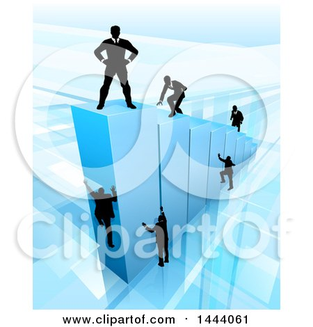 Clipart of a 3d Blue Bar Graph with Silhouetted Business Men Competing to Reach the Top - Royalty Free Vector Illustration by AtStockIllustration