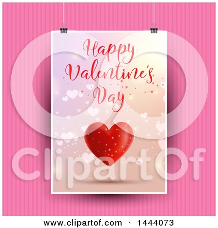 Clipart of a Happy Valentines Day Card Hanging over Pink Stripes - Royalty Free Vector Illustration by KJ Pargeter