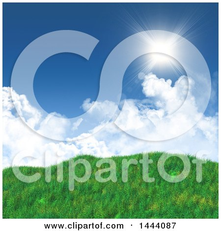 Clipart of a 3d Landscape Background of Blue Sky with Clouds and Grassy Hills - Royalty Free Illustration by KJ Pargeter