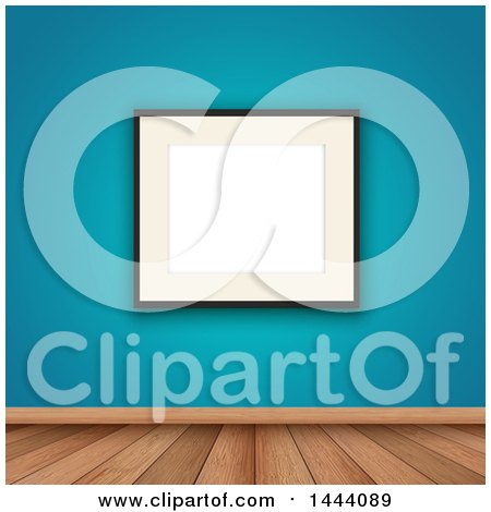 Clipart of a Blank Picture Frame on a Blue Wall over Wood Flooring - Royalty Free Vector Illustration by KJ Pargeter