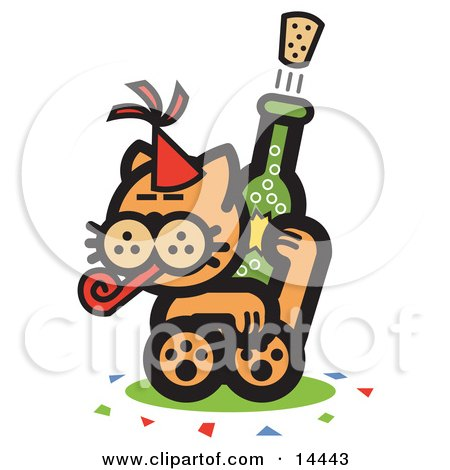 preview clipart orange cat wearing a party hat blowing a party blower and popping a cork off of a bottle of champagne
