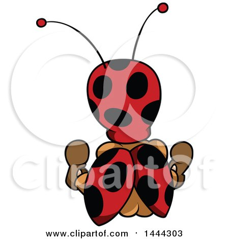 Clipart of a Cartoon Rear View of a Ladybug - Royalty Free Vector Illustration by dero