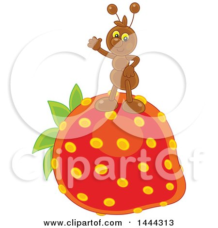 Clipart of a Friendly Ant Waving and Standing on a Strawberry - Royalty Free Vector Illustration by Alex Bannykh