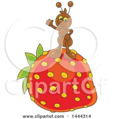 Clipart of a Cartoon Ant Waving and Standing on a Strawberry - Royalty Free Vector Illustration by Alex Bannykh