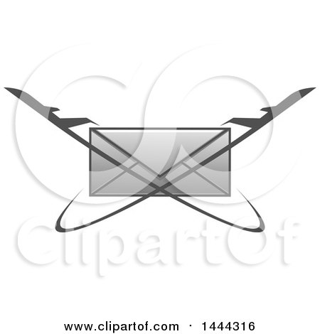 Clipart of a Grayscale Envelope with Jets - Royalty Free Vector Illustration by Vector Tradition SM