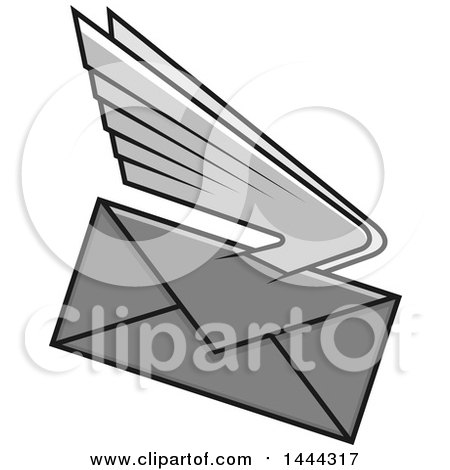 Clipart of a Grayscale Envelope with Wings - Royalty Free Vector Illustration by Vector Tradition SM