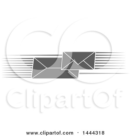 Clipart of Grayscale Fast Envelopes with Speed Lines - Royalty Free Vector Illustration by Vector Tradition SM