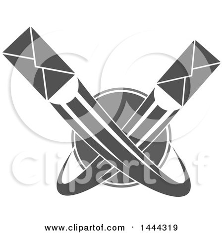 Clipart of Grayscale Envelopes Shooting Around a Globe - Royalty Free Vector Illustration by Vector Tradition SM