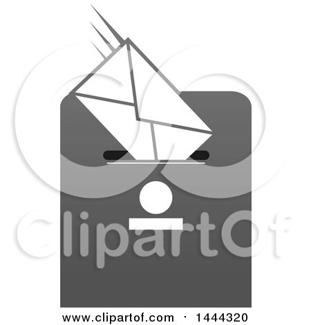 Clipart of a Grayscale Envelope in a Drop Box Slot - Royalty Free Vector Illustration by Vector Tradition SM