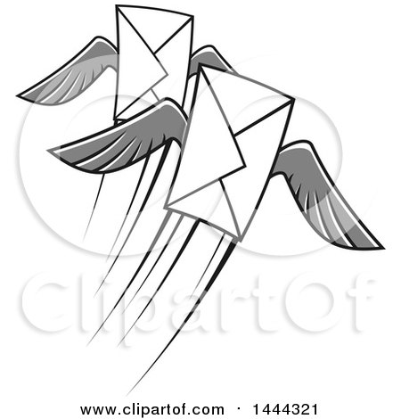 Clipart of a Grayscale Flying Envelopes with Wings - Royalty Free Vector Illustration by Vector Tradition SM