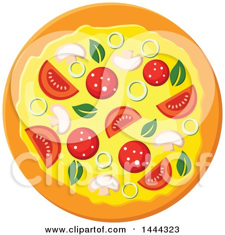 Clipart of a Surpreme Pizza - Royalty Free Vector Illustration by Vector Tradition SM