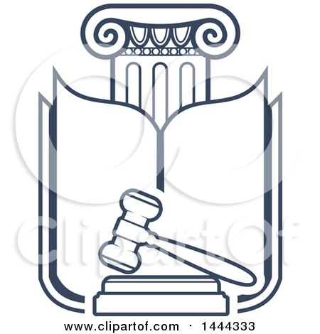 Clipart of a Dark Blue Pillar, Book and Gavel - Royalty Free Vector Illustration by Vector Tradition SM
