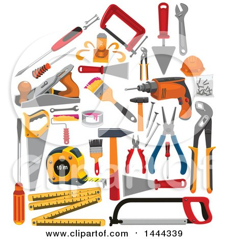 Clipart of a House Formed of Tools - Royalty Free Vector Illustration by Vector Tradition SM