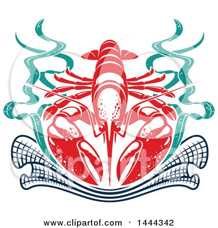 Clipart of a Red Lobster with Seaweed and a Net - Royalty Free Vector Illustration by Vector Tradition SM