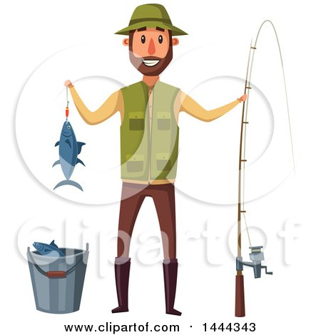 Clipart of a Happy Man Holding His Caught Fish and Standing with a Pole by a Bucket - Royalty Free Vector Illustration by Vector Tradition SM