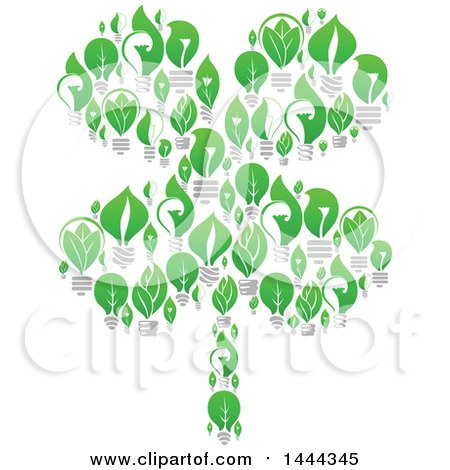 Clipart of a Four Leaf Shamrock Cloer Made of Green Leaf Light Bulbs - Royalty Free Vector Illustration by Vector Tradition SM