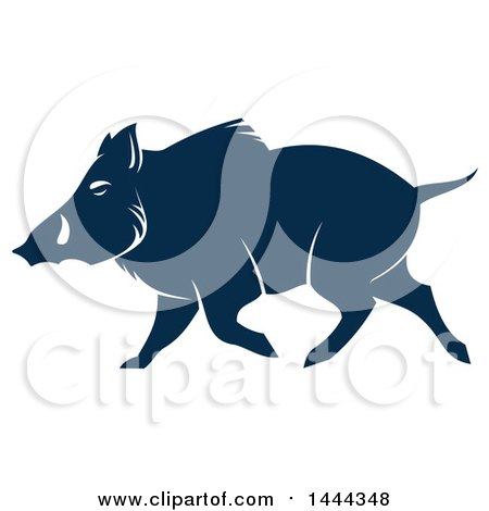 Clipart of a Navy Blue Razorback Boar with a White Outline - Royalty Free Vector Illustration by Vector Tradition SM
