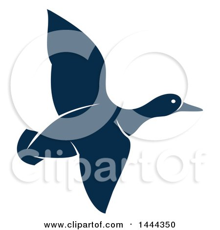Clipart of a Navy Blue Flying Duck or Goose with a White Outline - Royalty Free Vector Illustration by Vector Tradition SM