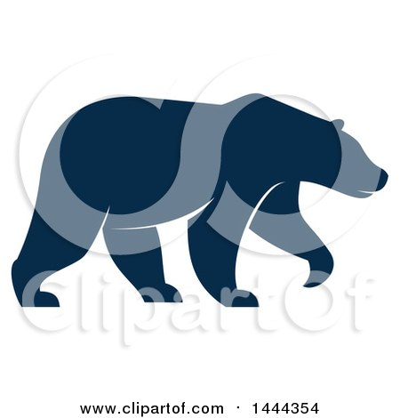 Clipart of a Navy Blue Bear with a White Outline - Royalty Free Vector Illustration by Vector Tradition SM