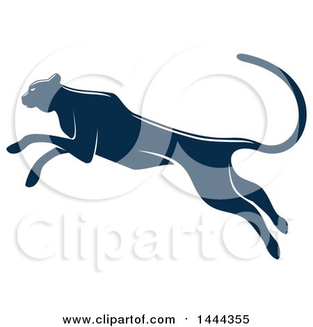 Clipart of a Navy Blue Leaping Big Cat with a White Outline - Royalty Free Vector Illustration by Vector Tradition SM