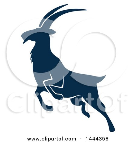 Clipart of a Navy Blue Mountain Goat with a White Outline - Royalty Free Vector Illustration by Vector Tradition SM