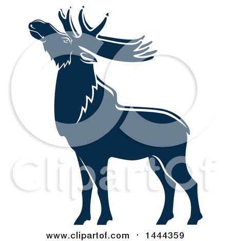 Clipart of a Navy Blue Elk with a White Outline - Royalty Free Vector Illustration by Vector Tradition SM