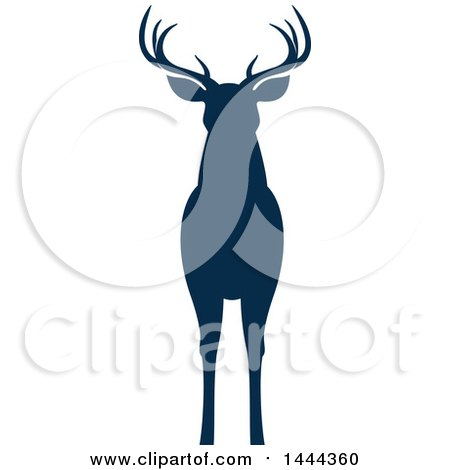 Clipart of a Navy Blue Silhouetted Deer Buck Stag - Royalty Free Vector Illustration by Vector Tradition SM