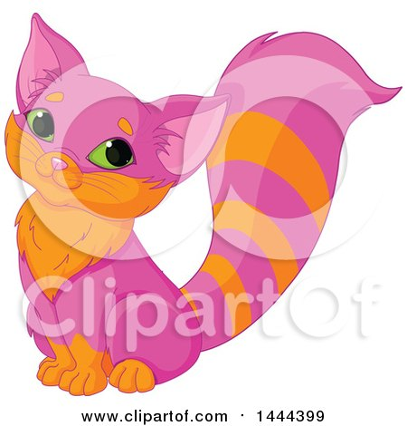 Clipart of a Cute Sitting Pink and Orange Kitty Cat - Royalty Free Vector Illustration by Pushkin