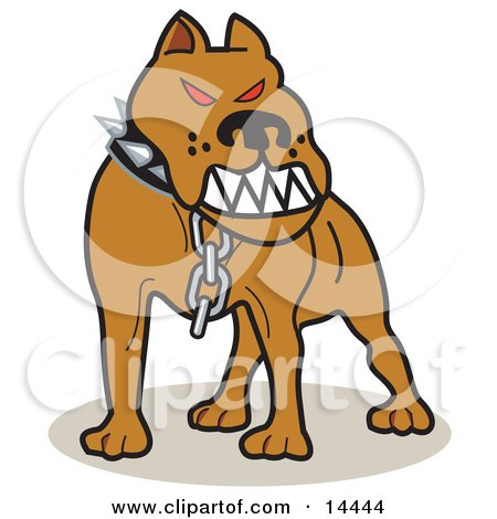 Mean Pitbull With Red Eyes in the Red Zone, Growling Clipart Illustration by Andy Nortnik
