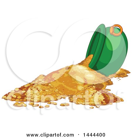 Clipart of a Tipped St Patricks Day Cauldron of Gold Coins - Royalty Free Vector Illustration by Pushkin