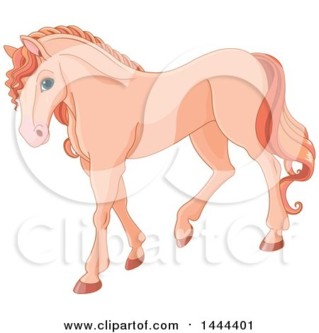 Clipart of a Cute Pastel Salmon Orange Horse Walking - Royalty Free Vector Illustration by Pushkin