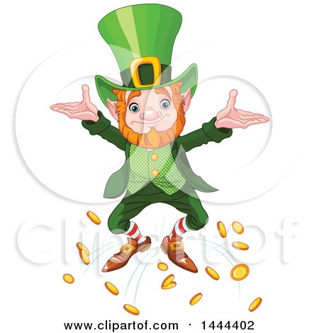 Clipart of a St Patricks Day Leprechaun Dropping Coins - Royalty Free Vector Illustration by Pushkin