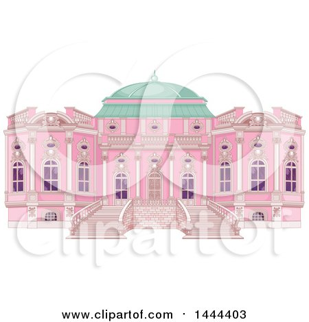 Clipart of a Pink Palace Exterior with a Green Dome - Royalty Free Vector Illustration by Pushkin